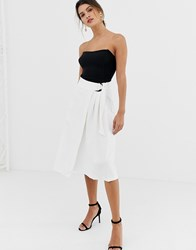 Closet D Ring Tie Waist A Line Skirt White