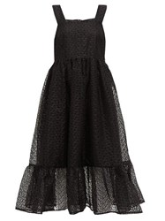 Shrimps Sylvia Floral Organza Pinafore Dress Black