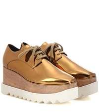Stella Mccartney Britt Metallic Platform Derby Shoes Gold