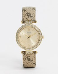 Guess Terrace Leather Watch In Gold