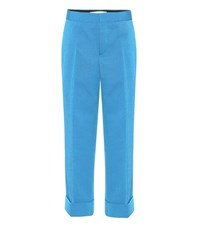 Marni Cropped Wool Twill Trousers Blue