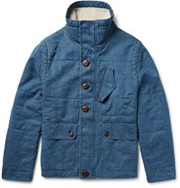 Outerknown Arroyo Faux Shearling Trimmed Hemp And Organic Cotton Blend Jacket Blue