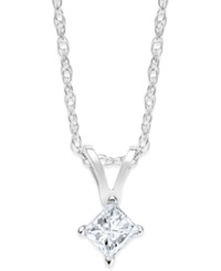 Macy's Princess Cut Diamond Pendant Necklace In 10K White Gold 1 5 Ct. T.W.