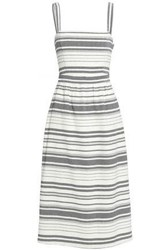 Joie Woman Knotted Striped Cotton Midi Dress Beige