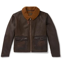 Rrl Leather Trimmed Shearling Jacket Brown