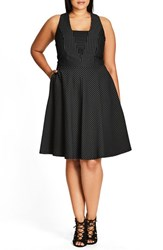 City Chic Plus Size Women's Office Fun Pinstripe Fit And Flare Dress