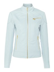 Andrew Marc New York Pu Jacket With Jersey Side Panels Light Blue