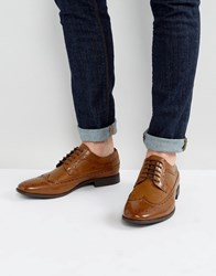 Asos Brogue Shoes In Tan Faux Leather Tan