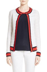St. John Women's Collection Honeycomb Stripe Knit Cardigan