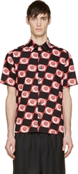 Raf Simons Red And Black Floral Quilt Shirt