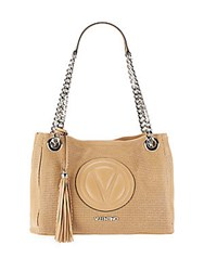 Valentino By Mario Valentino Luisap Leather And Chain Strap Tote Almond