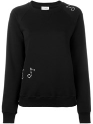 Saint Laurent Music Note Studded Sweatshirt Black