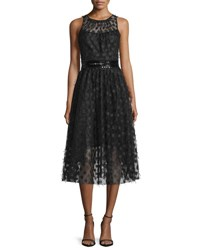 Carmen Marc Valvo Sleeveless Polka Dot Cocktail Dress Black