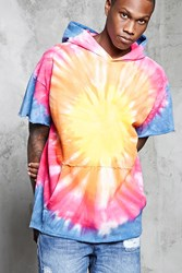 Forever 21 French Terry Tie Dye Hoodie Pink Blue