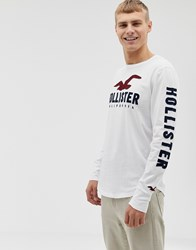 Hollister Chest And Sleeve Logo Long Sleeve Top In White