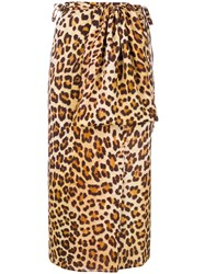 Simonetta Ravizza Leopard Print Wrap Midi Skirt Nude And Neutrals