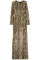 Rasario Sequined Tulle Gown Gold