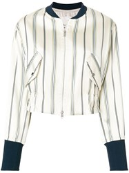 3.1 Phillip Lim Striped Bomber Jacket Nude And Neutrals