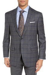 Peter Millar Men's Big And Tall Classic Fit Windowpane Wool Sport Coat Charcoal