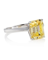 Fantasia Emerald Cut Canary Solitaire Ring