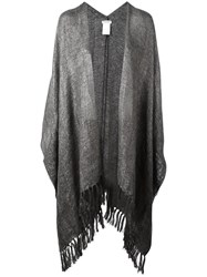 Brunello Cucinelli Fringed Poncho Grey
