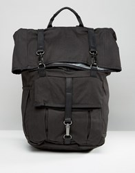 Timberland Rolltop 24L Backpack With Leather Trim Black