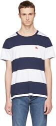 Burberry Navy And White Large Stripe Logo T Shirt