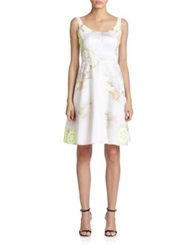 Honor Floral Silk Dress White Multi