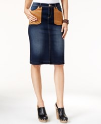 Inc International Concepts Faux Suede Pocket Denim Pencil Skirt Only At Macy's Indigo