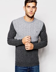 Jack Wills Jumper In Cable Knit Grey Block Greyblock