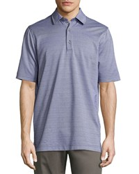 Bobby Jones Short Sleeve Check Jacquard Polo Shirt Summer Navy