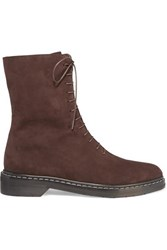 The Row Fara Suede Ankle Boots Brown