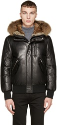 Mackage Black Leather And Fur Down Glen F5 Coat