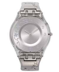 Swatch Watch Women's Swiss Climber Flowery Flower Engraved Stainless Steel Bracelet 34Mm Sfk300g