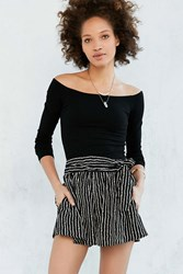 Silence And Noise Silence Noise Striped Tie Waist Short Black And White