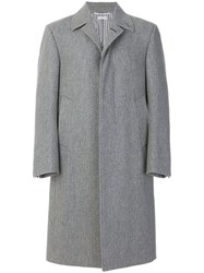 Thom Browne Classic Single Breasted Melton Wool Overcoat Grey