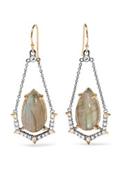 Alexis Bittar Gold Tone Crystal And Stone Earrings One Size