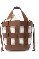 Trademark Cooper Caged Leather And Canvas Tote Brown