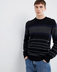 Selected Homme Knitted Jumper With Block Stripe In Lambswool Black