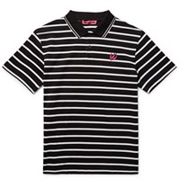 Mcq By Alexander Mcqueen Slim Fit Striped Cotton Pique Polo Shirt Black