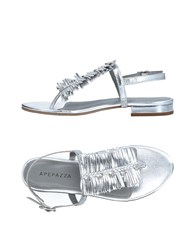 Apepazza Toe Strap Sandals Silver