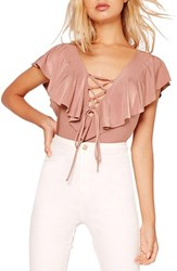 Missguided Women's Lace Up Ruffle Bodysuit