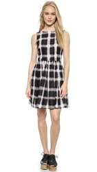 Marc By Marc Jacobs Blurred Gingham Voile Dress Black Multi