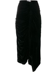 Preen By Thornton Bregazzi Ruched Velvet Skirt Black