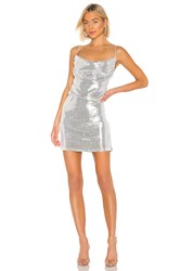 Kendall Kylie X Revolve Cowl Apron Sequin Dress Metallic Silver