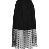 River Island Womens Black Polka Dot Tulle Midi Skirt