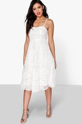 Boohoo Li Lace Strappy Sweetheart Midi Dress Ivory