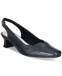 Easy Street Shoes Stunning Slingback Pumps Women's Navy Patent Snake