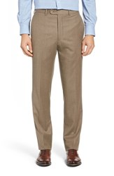 Jb Britches Men's Big And Tall J.B. Flat Front Solid Wool And Cashmere Trousers Taupe