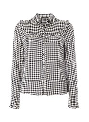 Dorothy Perkins Only Monochrome Gingham Checked Shirt Black